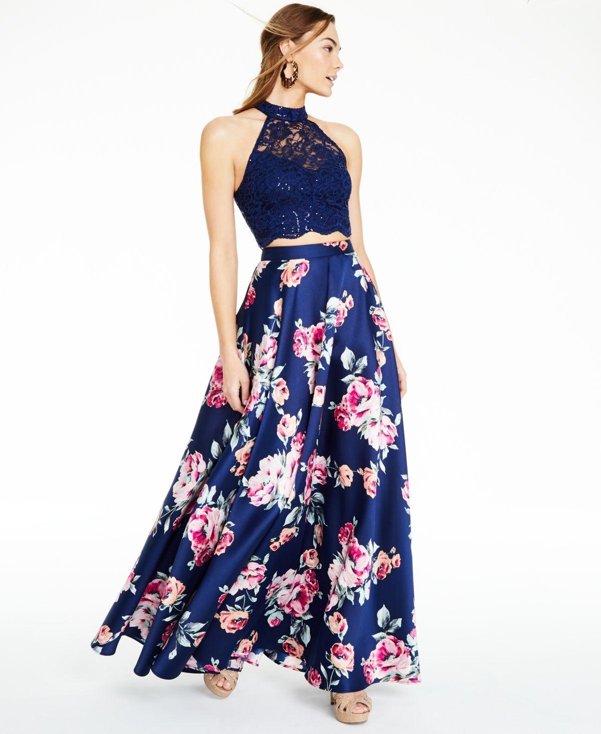 City Studios Juniors Lace Top And Floral 2 Pc Gown Navy Pink Floral Print Maxi Skirt Junior Dresses Review Dresses [ 1466 x 1200 Pixel ]