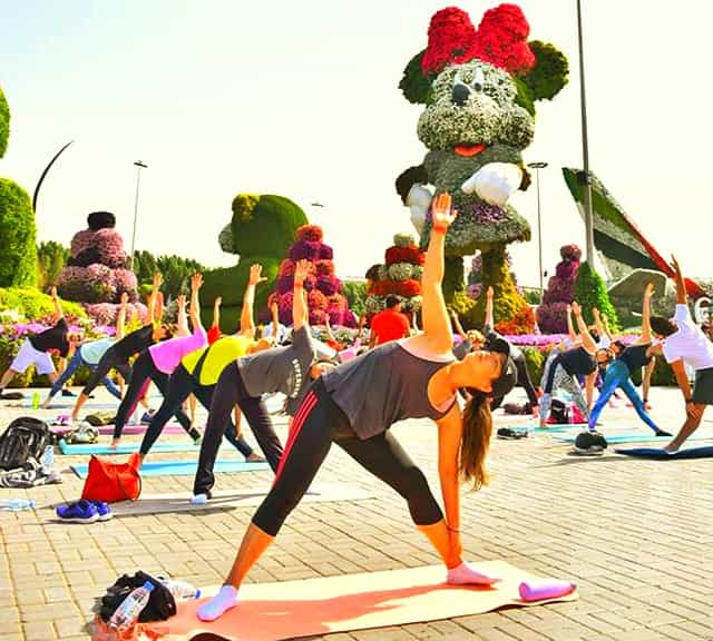 Dubai Miracle Garden launched free yoga sessions for its