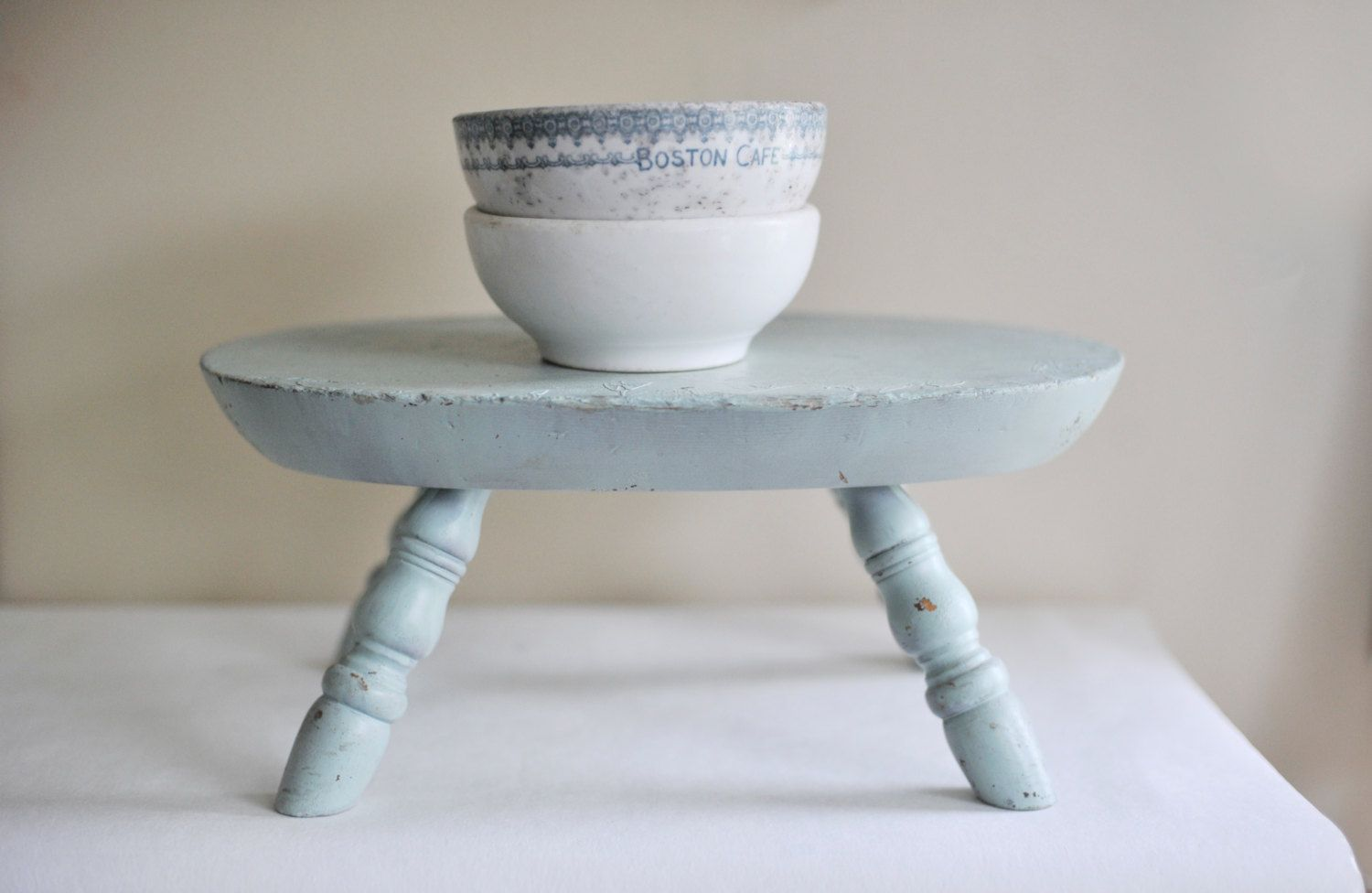 Vintage Stepping Stool, Step Stool, Painted Blue Stool, Antique ...