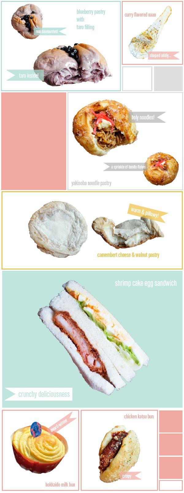 Mont Thabor Bakery Goodies in Azubu-juban Neighborhood in Tokyo, Japan: Blueberry Pastry, Curry-Flavored Naan, Yakisoba Noodle Pastry, Camembert Cheese &  Walnut Pastry, Shrimp Cake Egg Sandwich, Hokkaido Milk Bun, and Chicken Katsu Bun
