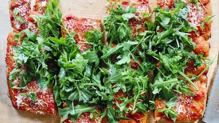 Vegetarian Pan Pizza With Lots Of Greens Recipe Pan Pizza Anchovies Pizza
