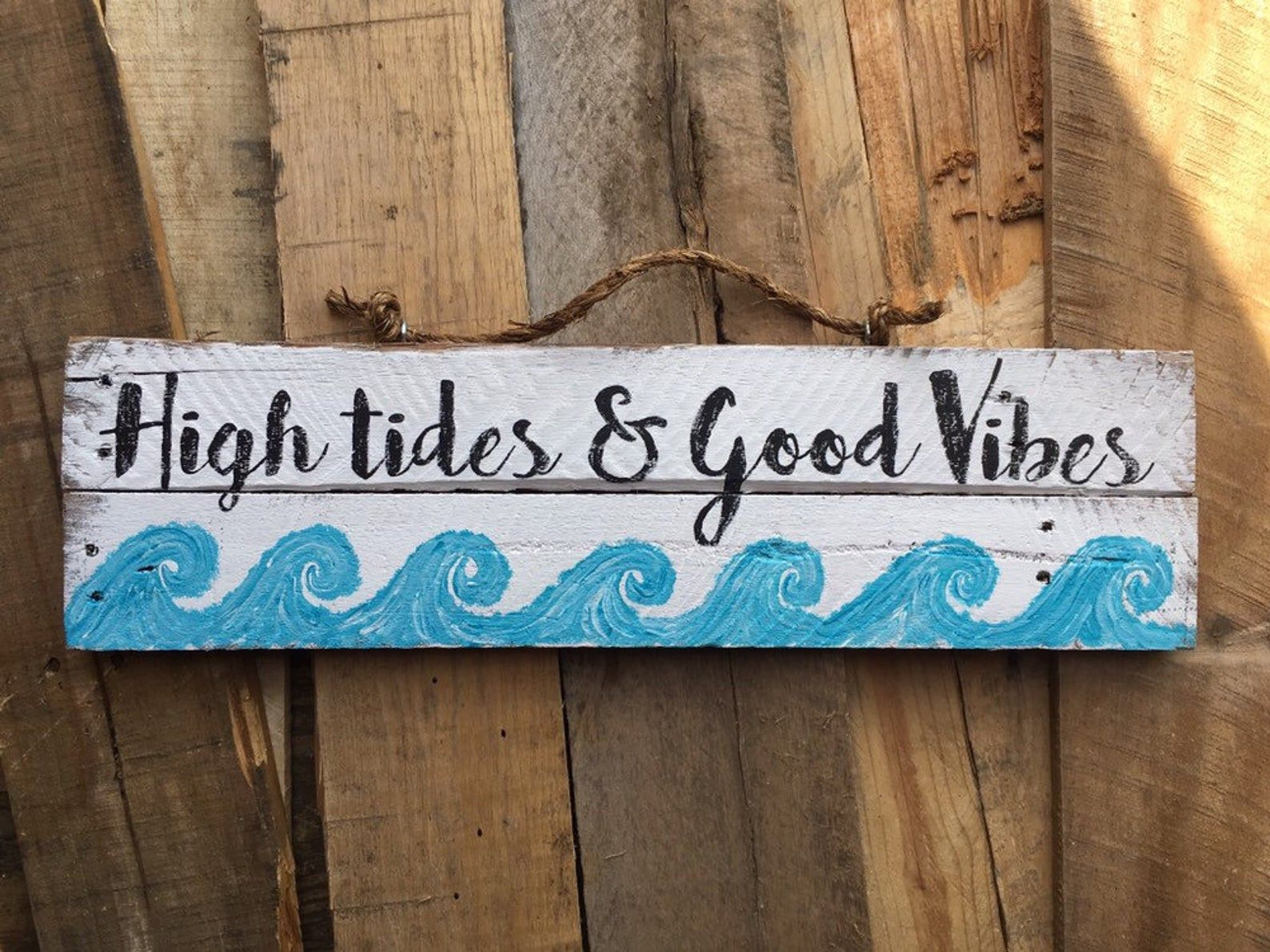 Beach Signs Beach Decor Pallet Sign High Tides Good Vibes Etsy