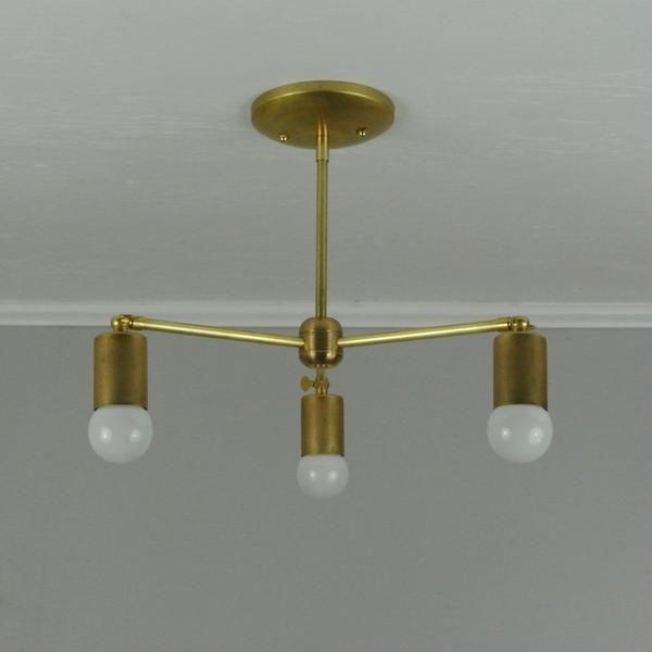 Bare bulb 3 arm adjustable brass chandelier pepe carols