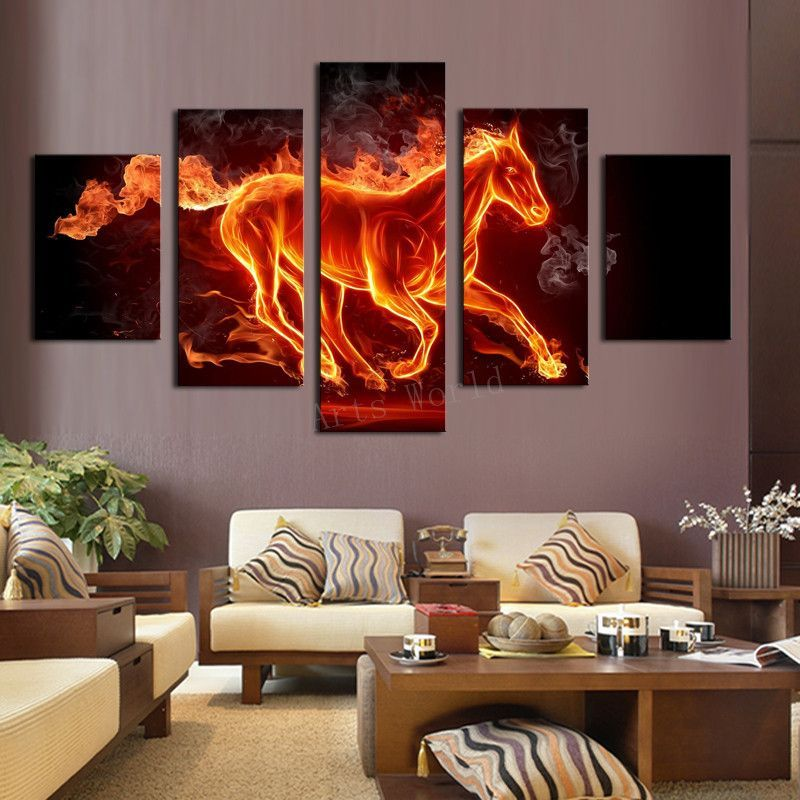 Top Rated Horse In Fire Cuadro - 5 Piece Canvas Painting