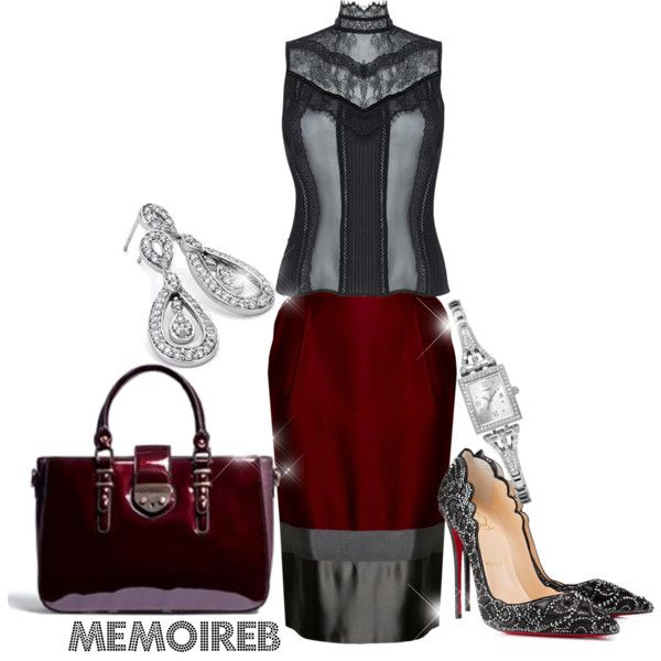 MARSALA SASSY....... by memoireb on Polyvore featuring polyvore, fashion, style, Alice + Olivia, House of Ronald, Christian Louboutin, Blue Nile and GUESS