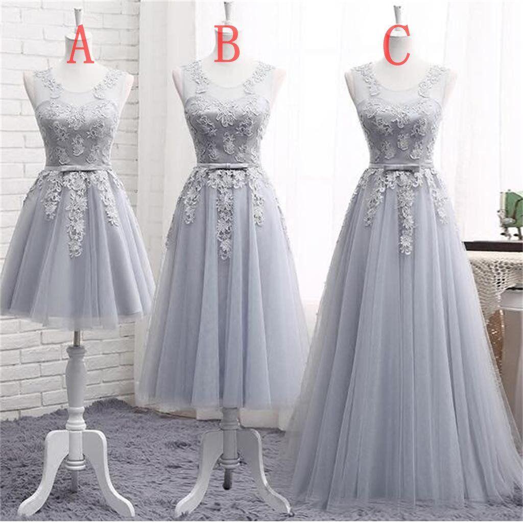 Gray lace a line long bridesmaid dresses cheap custom long