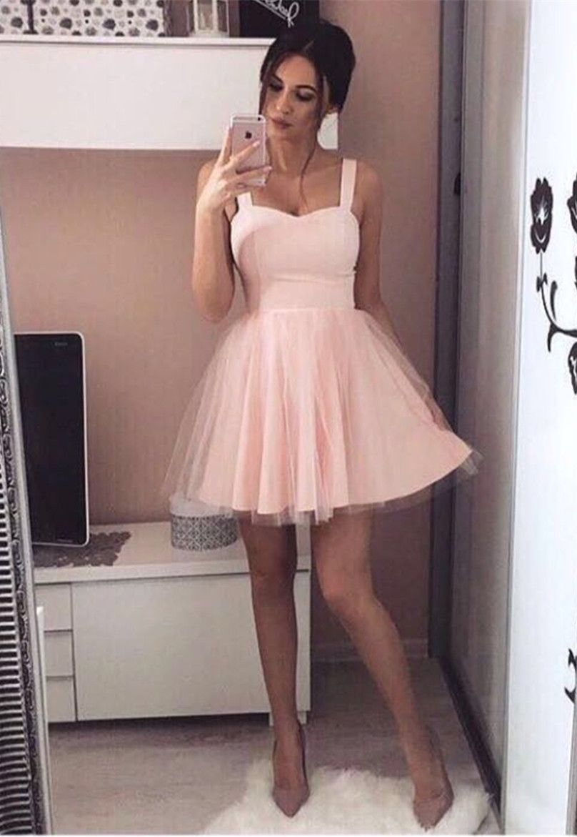 A-Line Square Sleeveless Pink Tulle Short Homecoming Dress ...