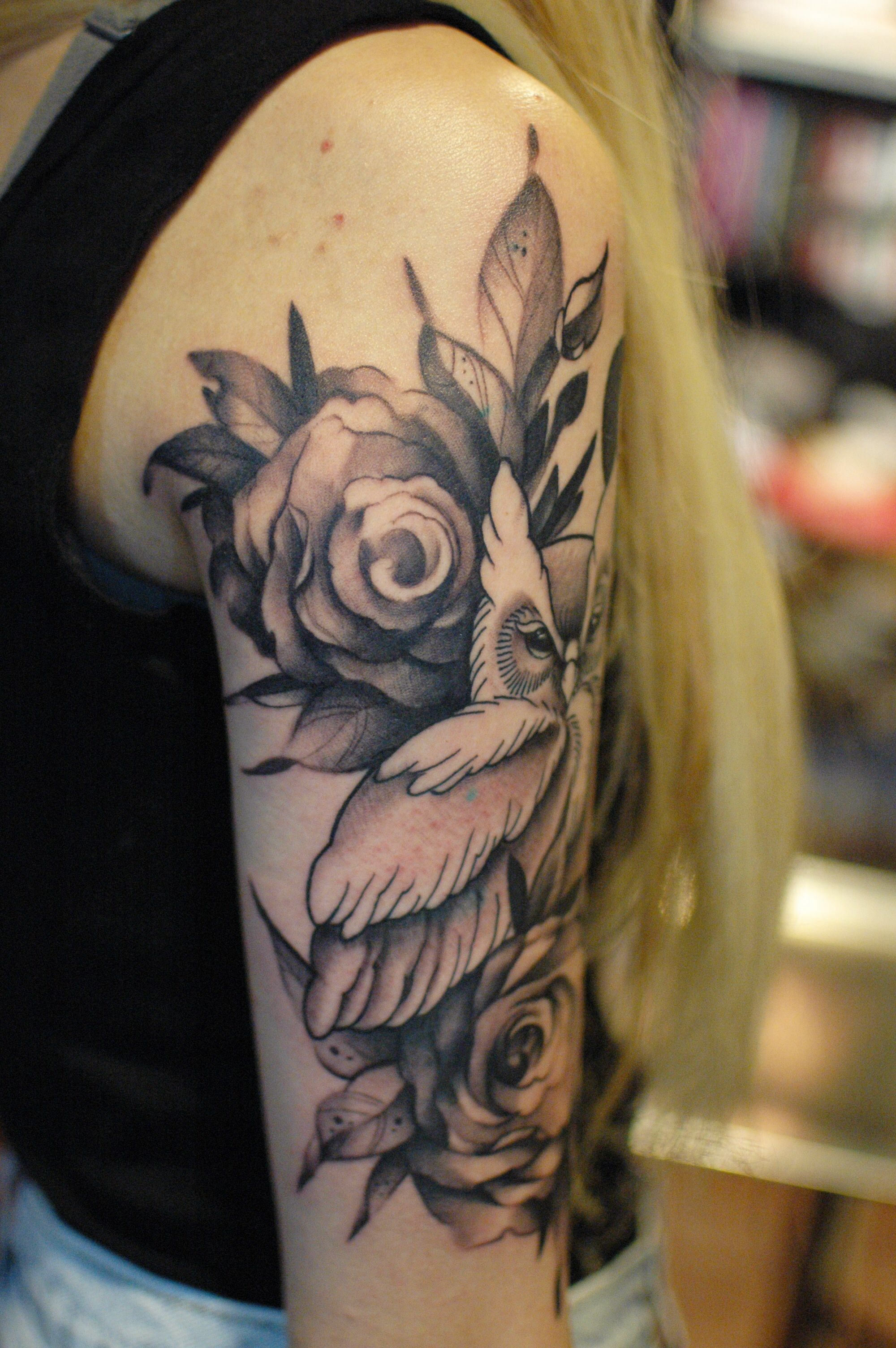 Owl with roses black and gray tattoo on upper sleeve ...
