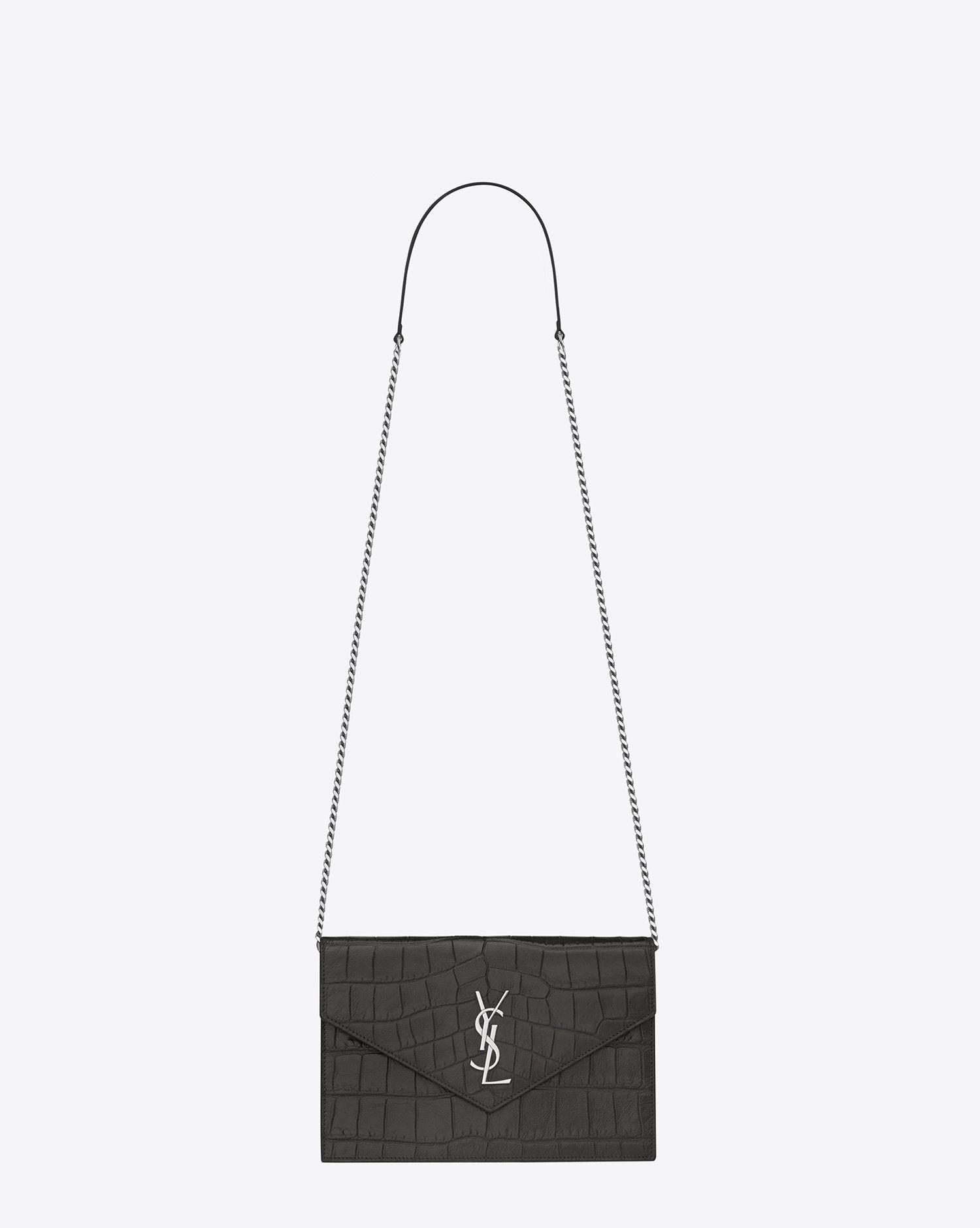 f8932c471a Saint Laurent Monogram Envelope Chain Wallet In Dark Anthracite ...