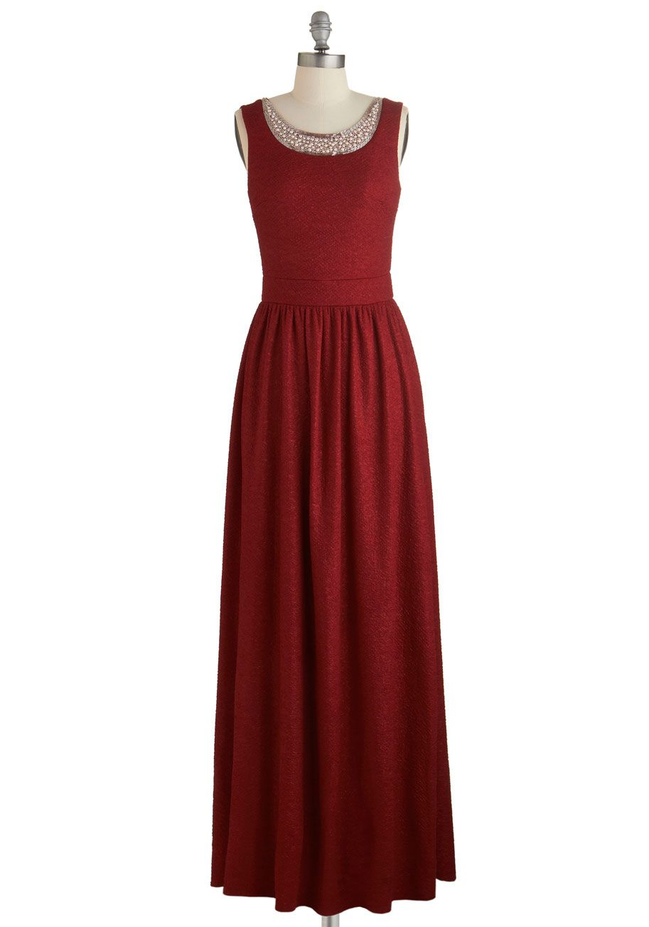 $94.99   Breath-taking scoop-neck maxi sprinkled with metallic flecks, pleated skirt, broad waistband, and dipped back.