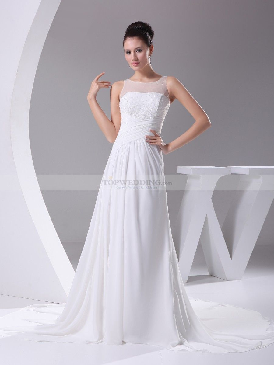Marvelous Simple Chiffon Wedding Dress With Beaded Sheer Top Idea