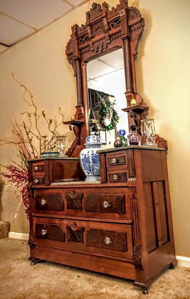 Antique Eastlake Dresser With Mirror Marble Tops Furniture