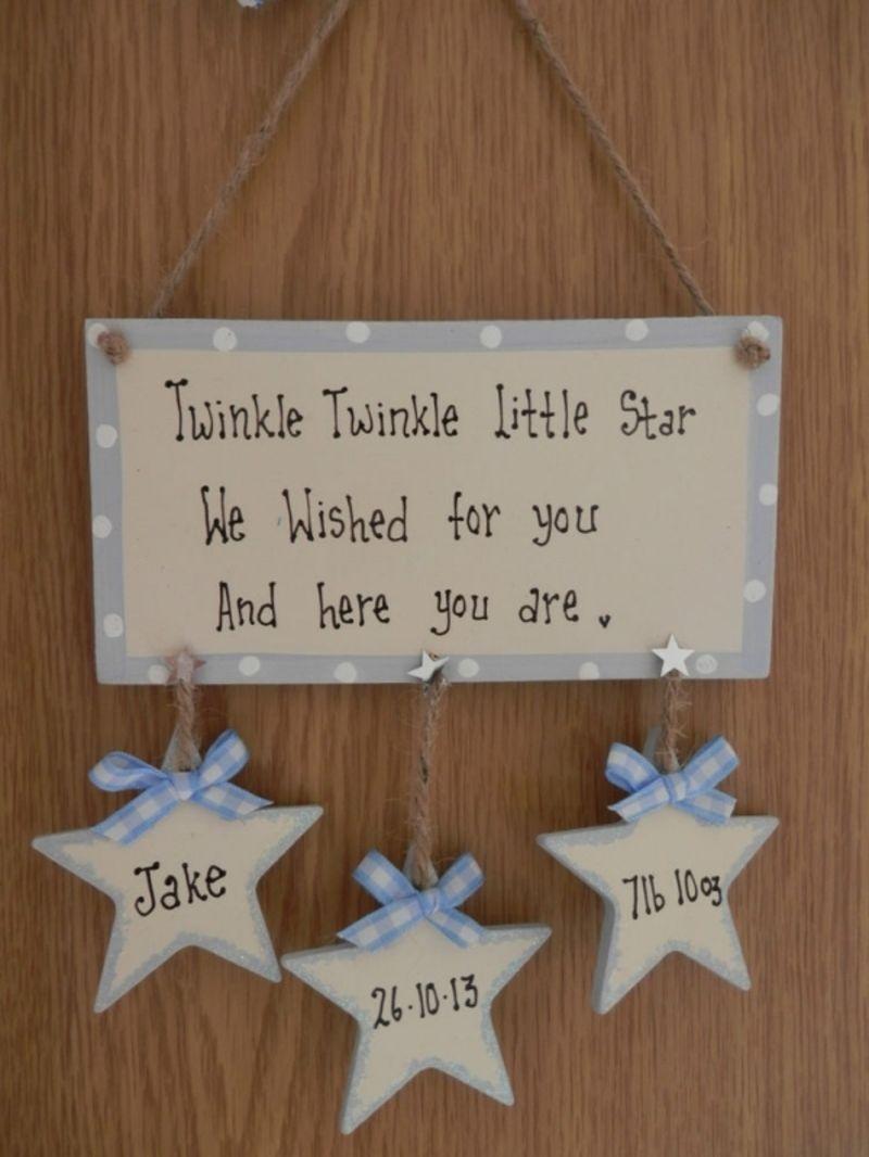 Personalised handmade nursery plaque STARS Twinkle Twinkle New Baby Boy girl