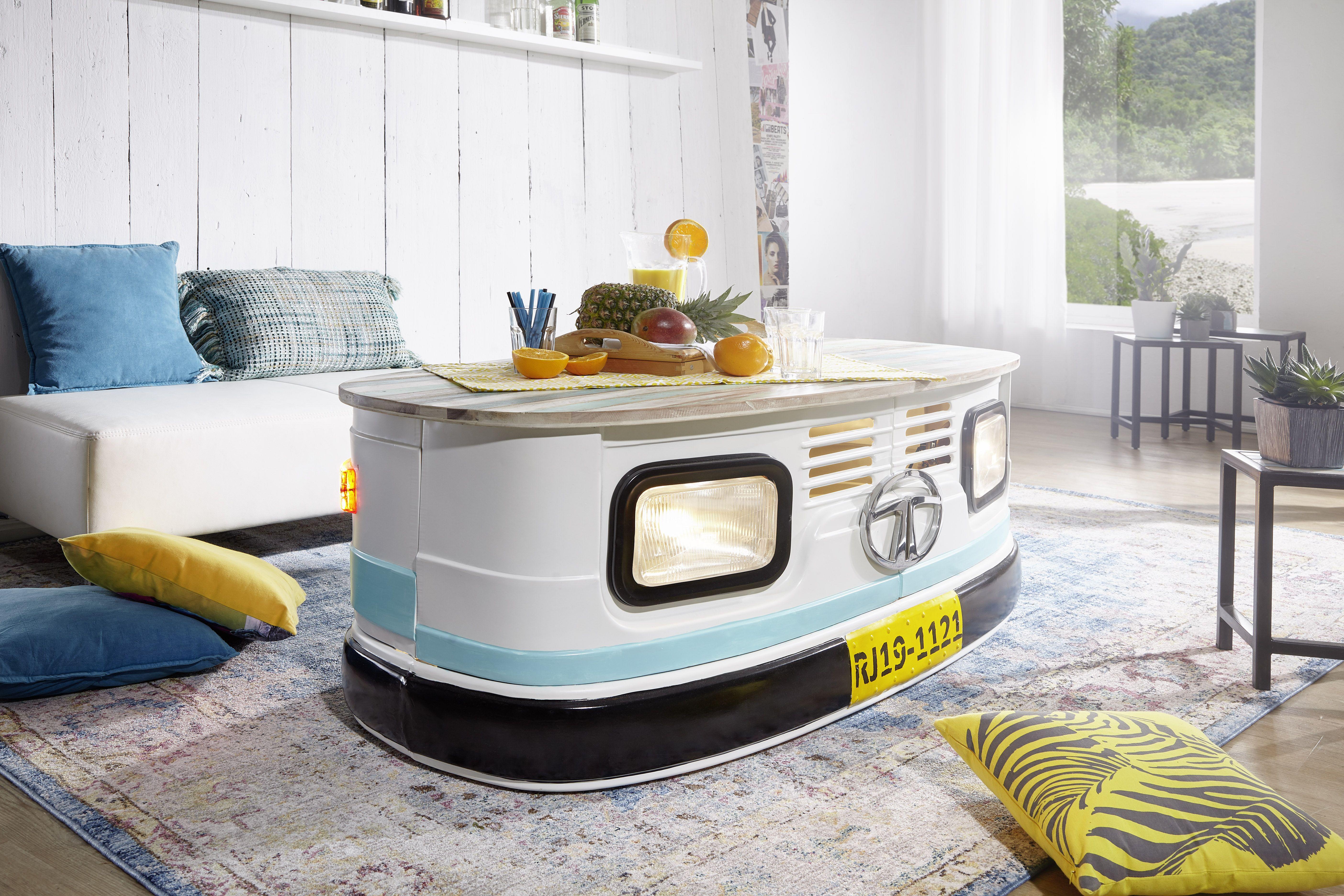 Wohnling Truck Couchtisch Lina WL5.437 Aus Massivholz, Eisen Und Lampen # Wohnzimmer #