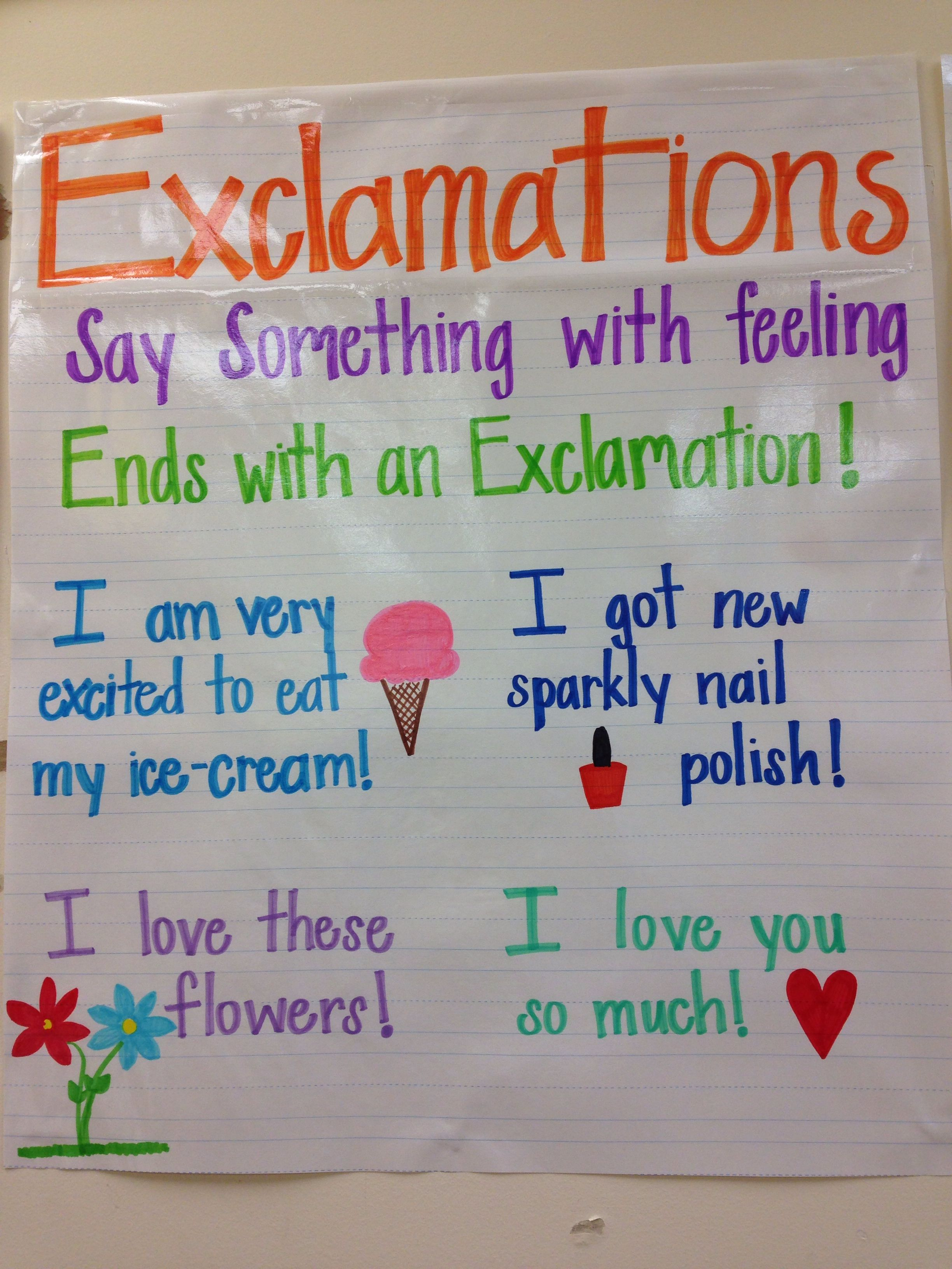 Exclamations Anchor Chart