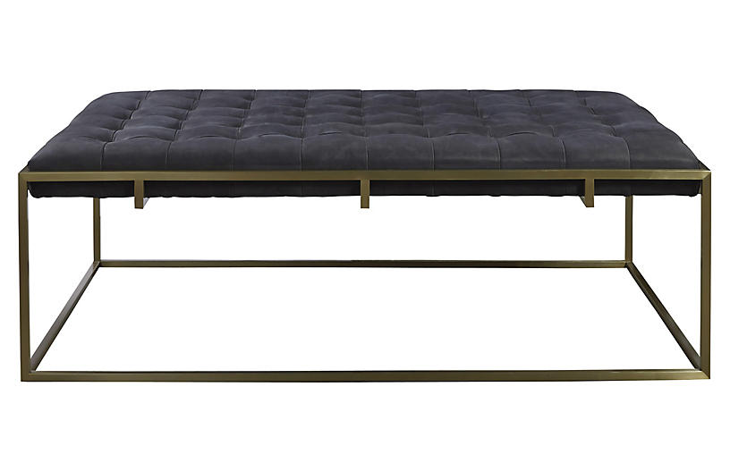 Travers Tufted Cocktail Ottoman Black Leather Ottomans