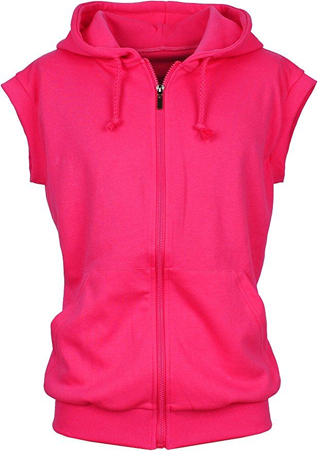 f8a61ba1779930 Angel Cola Men s Sleeveless Hoodie Zip Up Cotton Vest Hot Pink L ...