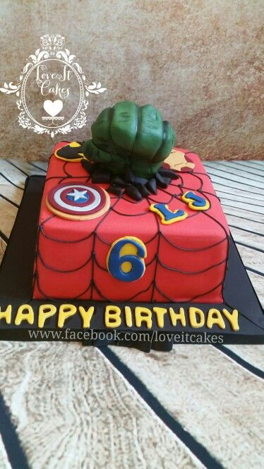Hero avengers cake square chocolate cake hulk hand made from rice