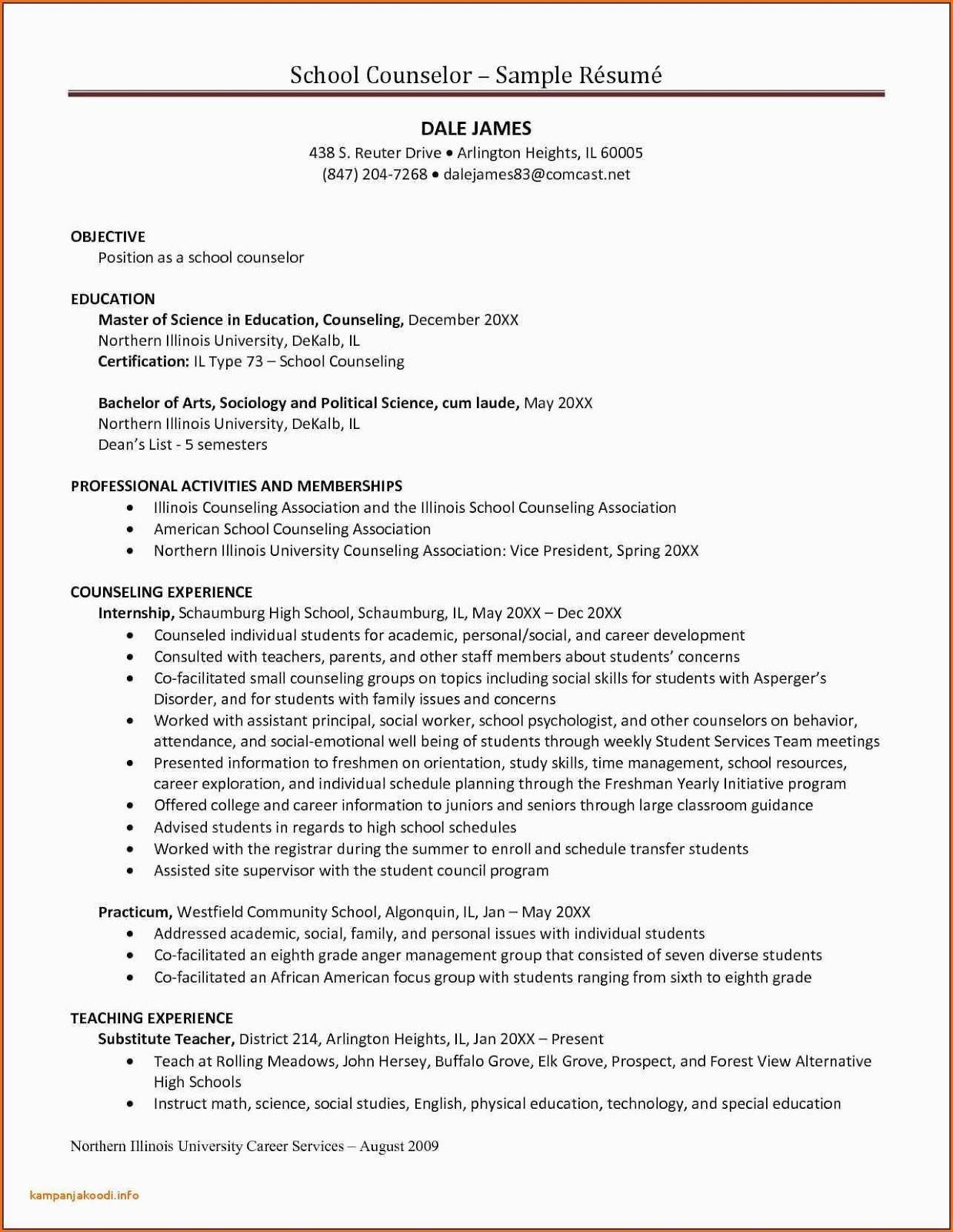 sample resume for counseling internship