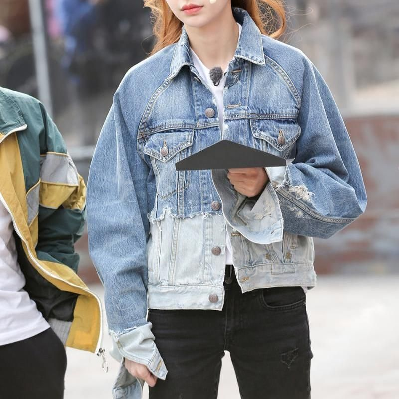 2019 New Lapel Long Sleeve Blue Hit Color Denim Coat Women Split Joint Loose Jacket Denim Coat Women Coats For Women Denim Coat