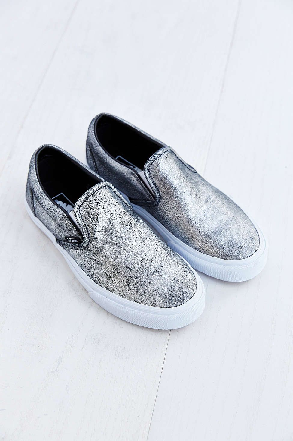 vans metallic silver s slip on sneaker attire