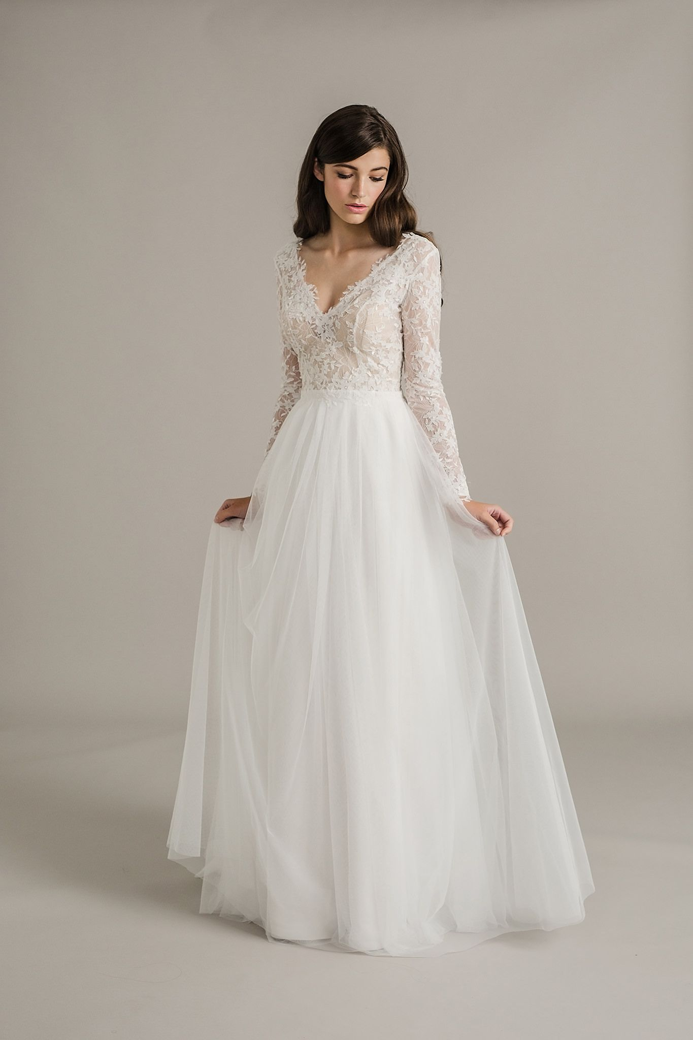 Lace arm wedding dress  Sally Eagle Wedding Dress Collection  Dusk  Sally Lace