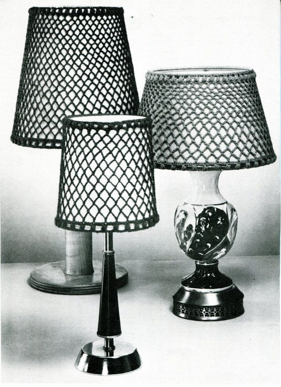 1960s Vintage Crocheted Lampshade Covers Pdf Crochet By Zafirah 2 25 Crochet Lampshade Crochet Lamp Antique Lamp Shades