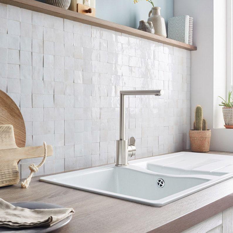 Mosaique Mur Zellige Blanc Fes 5 X 5 Cm Leroy Merlin Credence Cuisine Credence Cuisine Blanche Cuisine Tendance