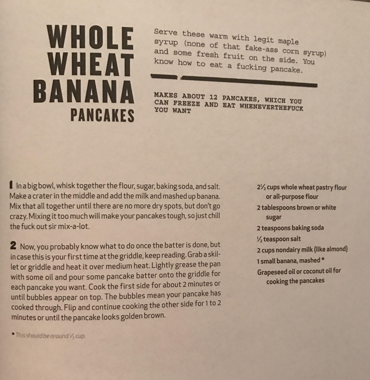 Whole wheat banana pancakes from Thug Kitchen | Food | Pinterest