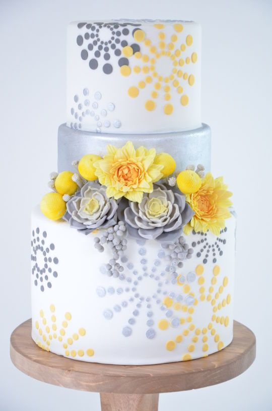 Gray and yellow wedding cake | Cakes - wedding | Pinterest | Grey ...