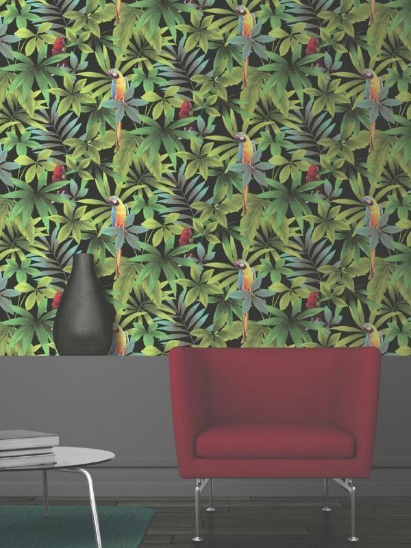 Papier Peint Motif Tropical Et Perroquets Fond Noir Ugepa