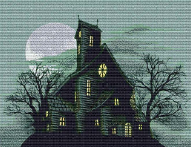 Halloween Haunted House Black Cross Stitch Pattern