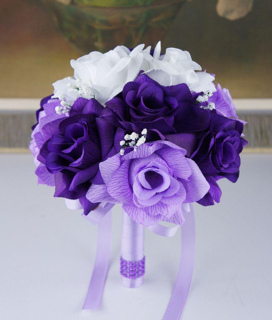 "Lavender Flower Hair Wedding Style: 8"" Bouquet - Purple, Lavender, And White Bouquet"