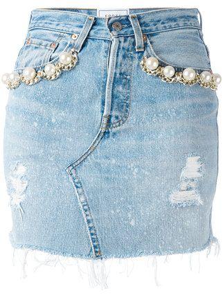 Forte Couture Pearl Embellished Denim Skirt Designer Denim Skirts Denim Skirt Incredible Clothing,Custom Design Apparel