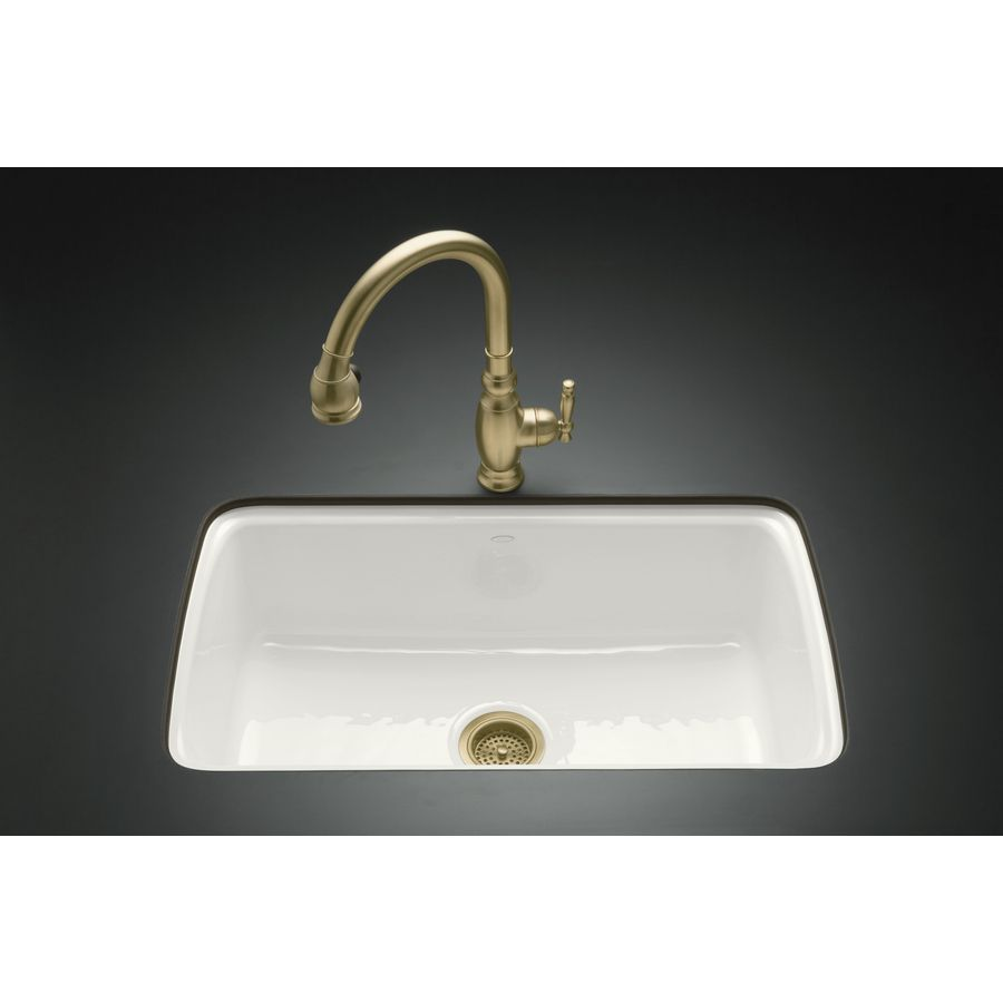 Shop Kohler Cape Dory 22 In X 33 In White Single Basin Cast Iron Undermount 5 Hole Residential Kitchen Sink At Lowes Com Sink Cast Iron Kitchen Sinks Kohler