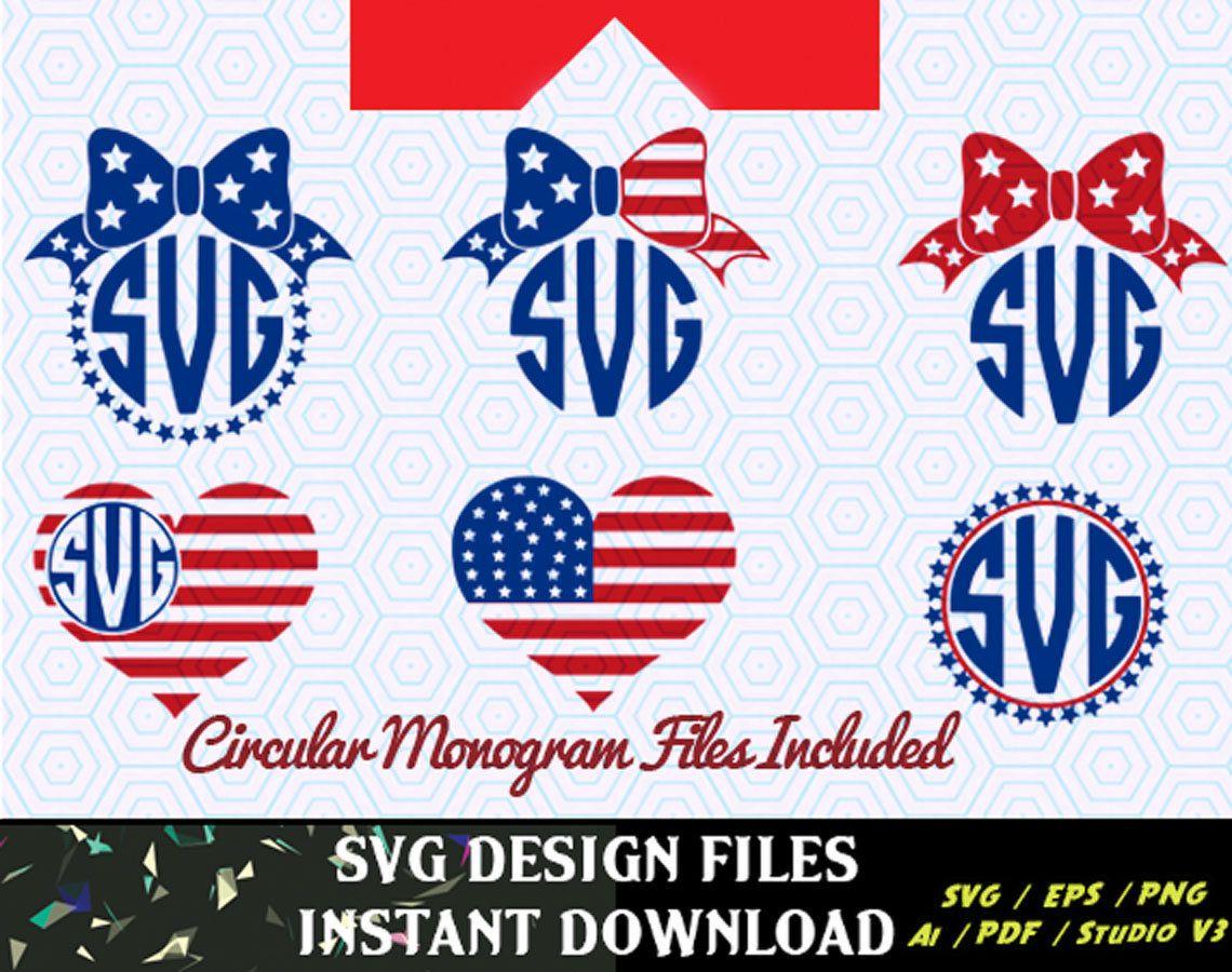 American Flag Monogram Frames, 4th of July svg, Memorial