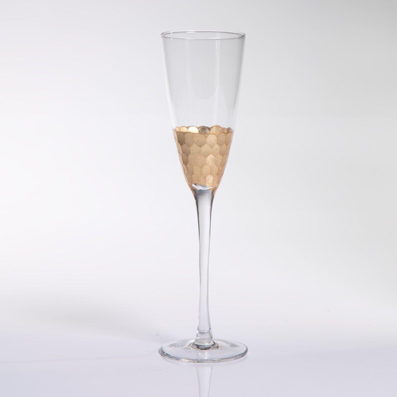 Fez Cut Glass Gold Leaf Champagne Flute Set of 12