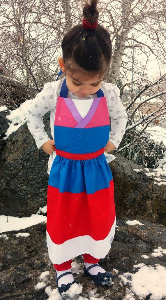 Mulan Costume Apron Fits Girls Sizes 2t 3t 4 5 Toddler Baby Girls Disney Princess Inspired Dress Up Bir Dress Up Aprons Size Girls Disney Costumes For Kids