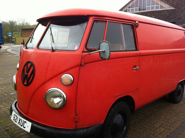 Split window red VW van, via Flickr