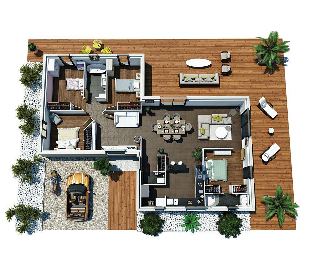 Cette maison moderne plain pied aux lignes épurées offre une atmosphère chaleureuse alternant des espaces dédiés à la vie au quotidien mais également à la