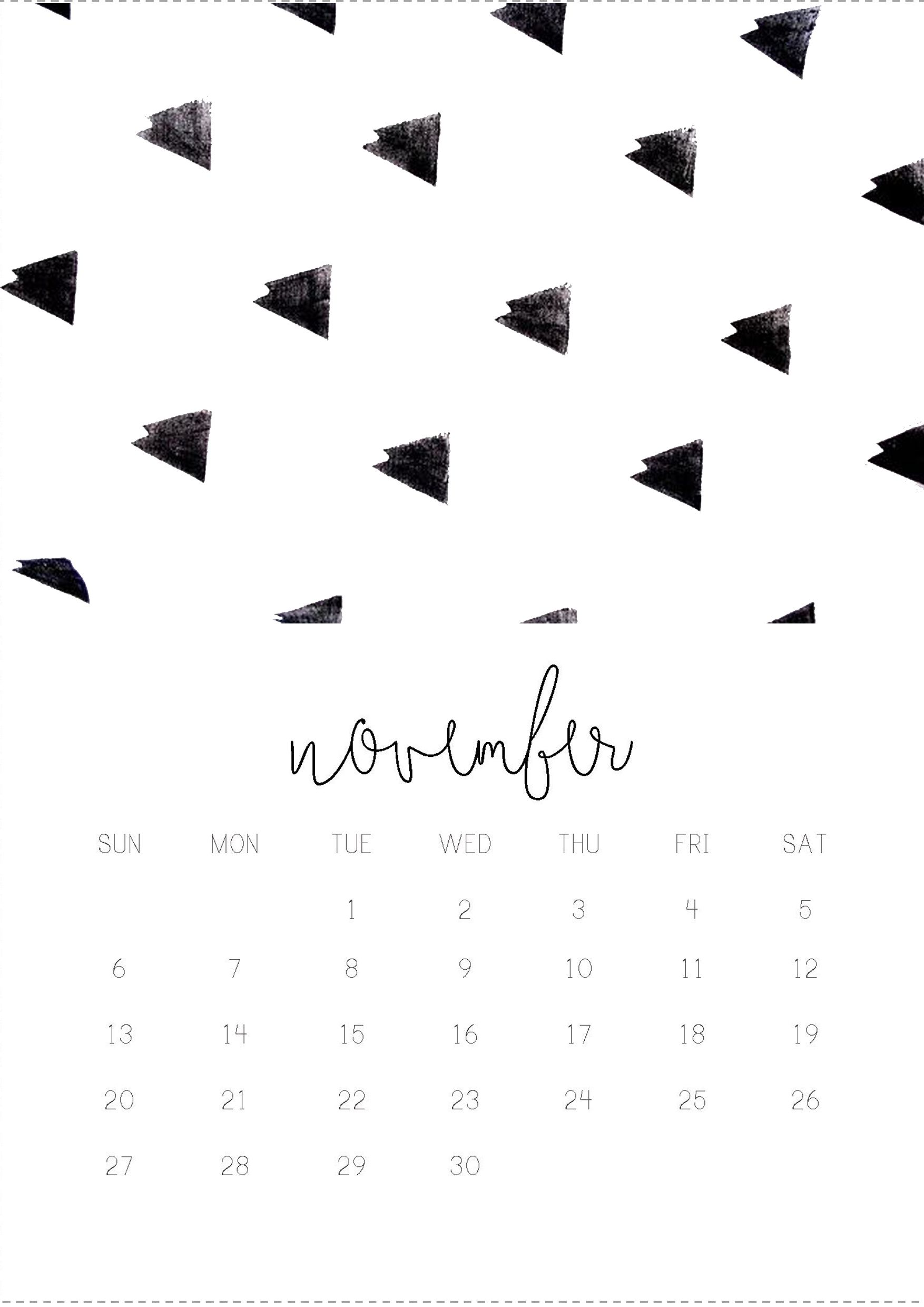 11/12 November monthly 2016 calendar printable, collage