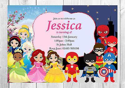 Personalised Marvel Superhero and Disney Princess Invitations with