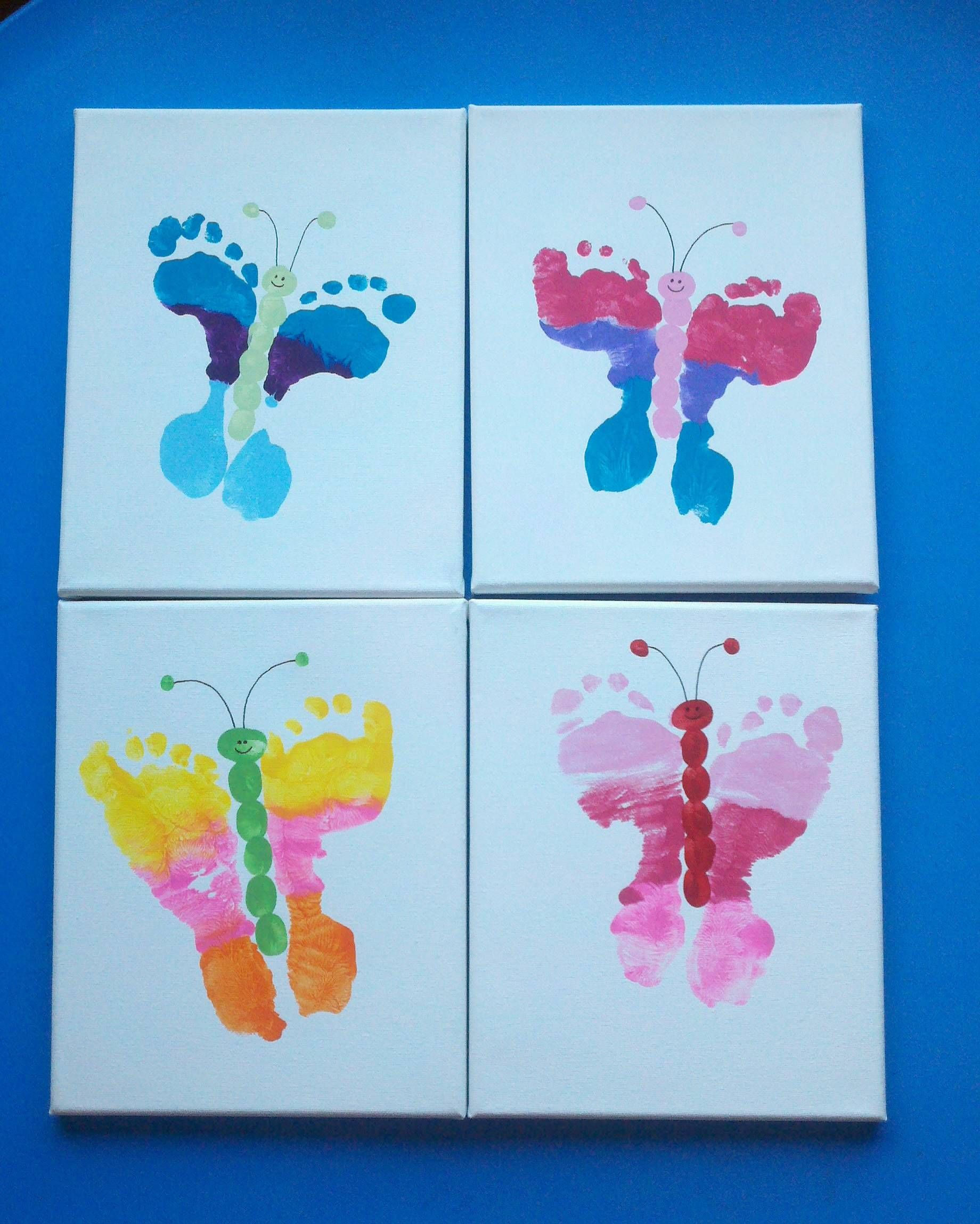 Our preschool mothers day gifts foot butterfly canvases for Mother s day projects for preschoolers