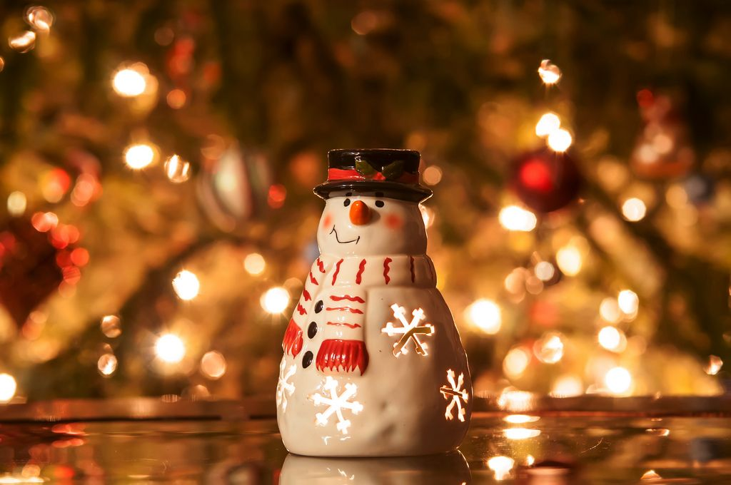 Festive Snowman With Christmas Light Background Lights