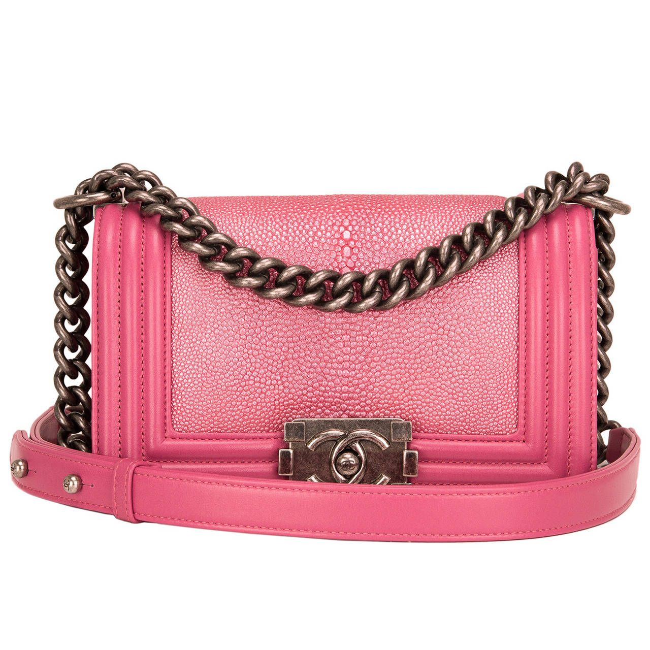 4bae96a9f91326 Chanel Metallic Pink Stingray Small Boy Bag | From a collection of rare  vintage shoulder bags