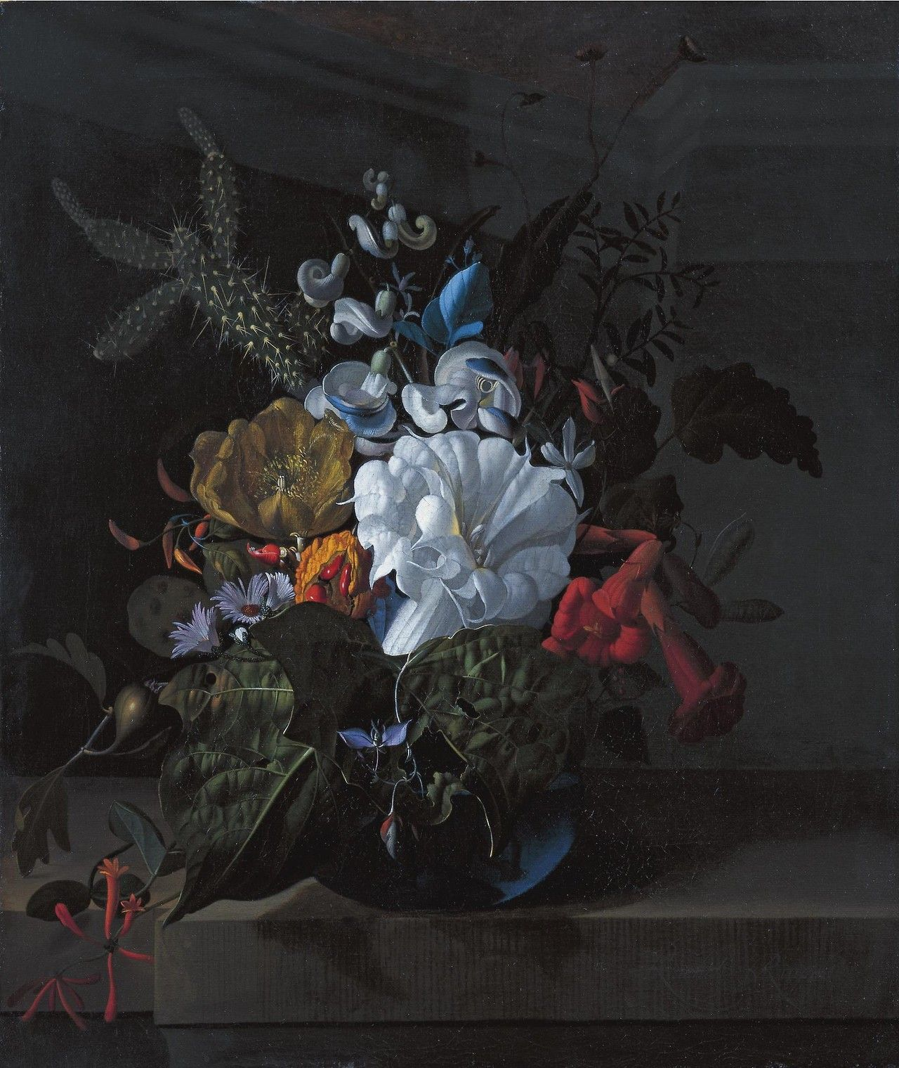 A still life with devil's trumpet, a cactus, a fig branch, honeysuckle and other flowers in a blue glass vase resting on a ledge (oil on canvas) / by Rachel Ruysch