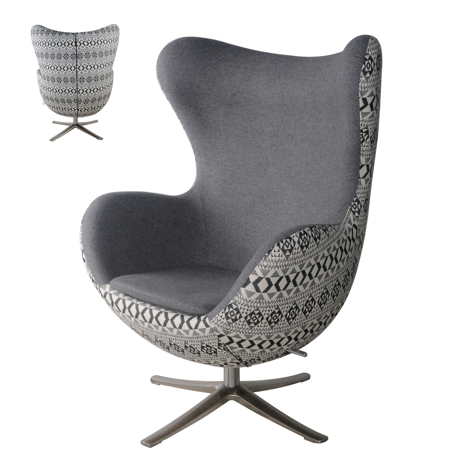 mid century egg chair max fabric swivel rocker chair chrome legs rh pinterest de