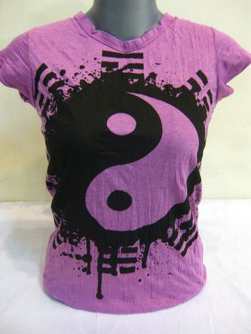 Sure Design Womens Ying Yang T-Shirt Purple | Sure Design