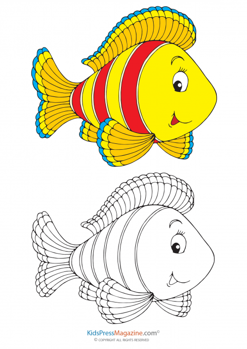 Fill In The Color Yellow Fish Kidspressmagazine Com Art Drawings For Kids Coloring Books Elementary Drawing