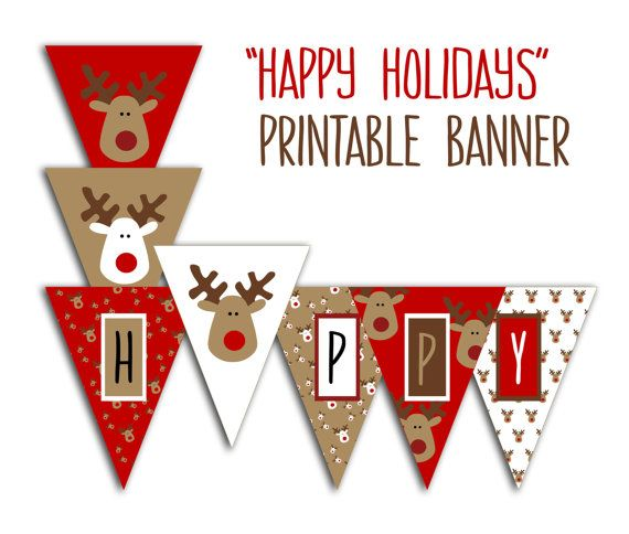 happy holidays banner christmas party printable by prtskindigital crochet needle work. Black Bedroom Furniture Sets. Home Design Ideas